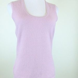 ANN TAYLOR CASHMERE LAVENDER SCOOP tank sweater M